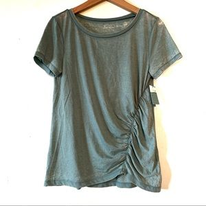 Susina T-Shirt Top ruched side Small S Light Green